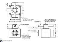 Virgin PTFE Full Port 2-Way NPT Plug Valve Dimensional Drawing